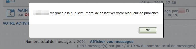 Alerte anti-adblock